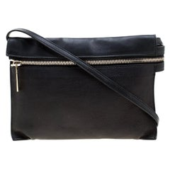 Victoria Beckham Black Leather Front Zip Crossbody Bag