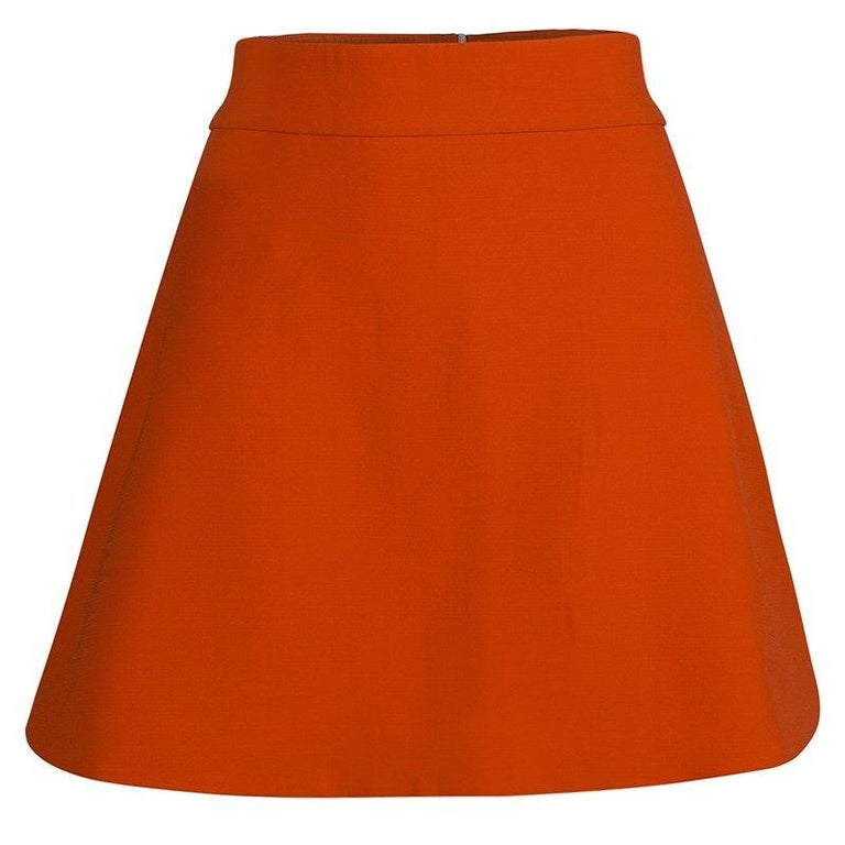 bb1c8aed68 Victoria Beckham Bright Orange A-Line Skirt M For Sale at 1stdibs