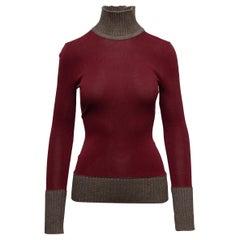 Victoria Beckham Burgundy & Brown Turtleneck Sweater