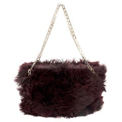 Victoria Beckham Burgundy Fur Chain Tote