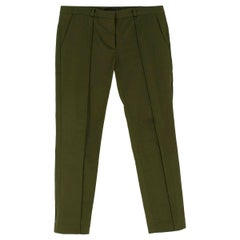 Victoria Beckham Cotton Green Slim fit Trousers 10 UK