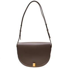 Victoria Beckham Dark Beige Leather Half Moon Shoulder Bag