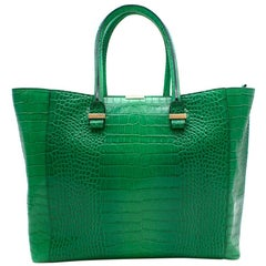 Victoria Beckham Liberty Emerald  Leather Tote