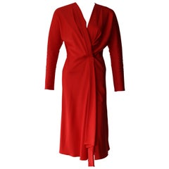 Victoria Beckham Red Long Sleeve Cocktail Dress