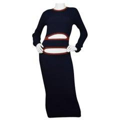 Victoria Beckham Navy Cutout Ribbed-Knit Midi Dress sz 2