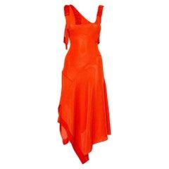 Victoria Beckham Orange Mesh Knit Ruffle Detail Asymmetric Hem Midi Dress S
