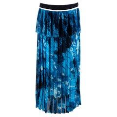 Victoria Beckham Printed Satin crepe pleated midi skirt UK10