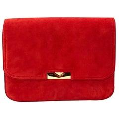 Victoria Beckham Red Suede Eva Chain Bag