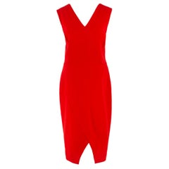 Victoria Beckham Red V-Neck V-Hem Sleeveless Dress SIZE 14