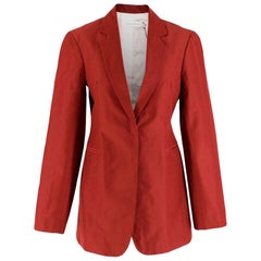 Victoria Beckham Silk Taffeta Masculine Jacket in Burgundy - Size US 4