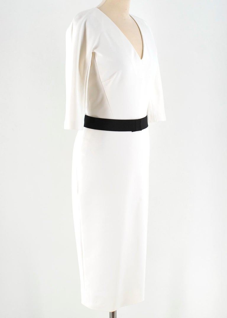Victoria Beckham white belted midi dress  V neck;  exposed double zip closure at the back; medium-size sleeve; Made in England  approx  shoulders 40 cm chest 42 cm  sleeves length 38 cm hips 43 cm full length 112 cm