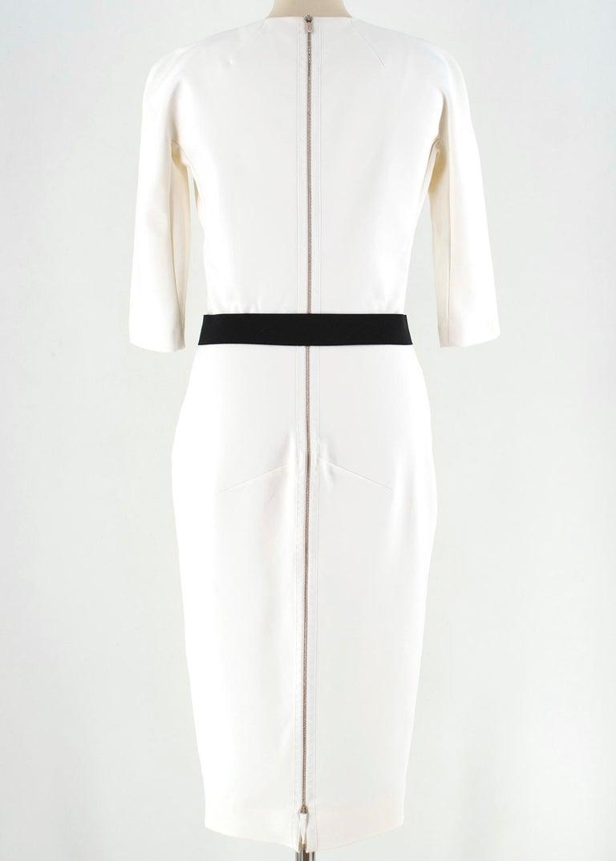 Gray Victoria Beckham white belted midi dress UK 12 For Sale
