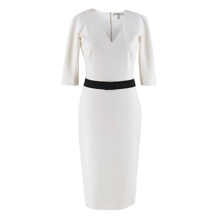 Victoria Beckham white belted midi dress UK 12 For Sale