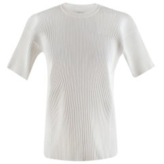 Victoria Beckham White Ribbed Knit Top - Size 2