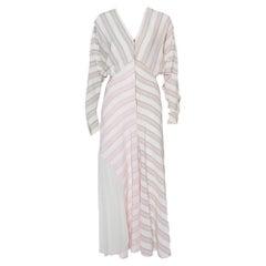 Victoria Beckham White Striped Silk & Chiffon Paneled Maxi Dress M