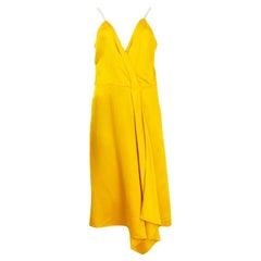 VICTORIA BECKHAM yellow silk DRAPED SATIN SPAGHETTI STRAP Dress 12 M