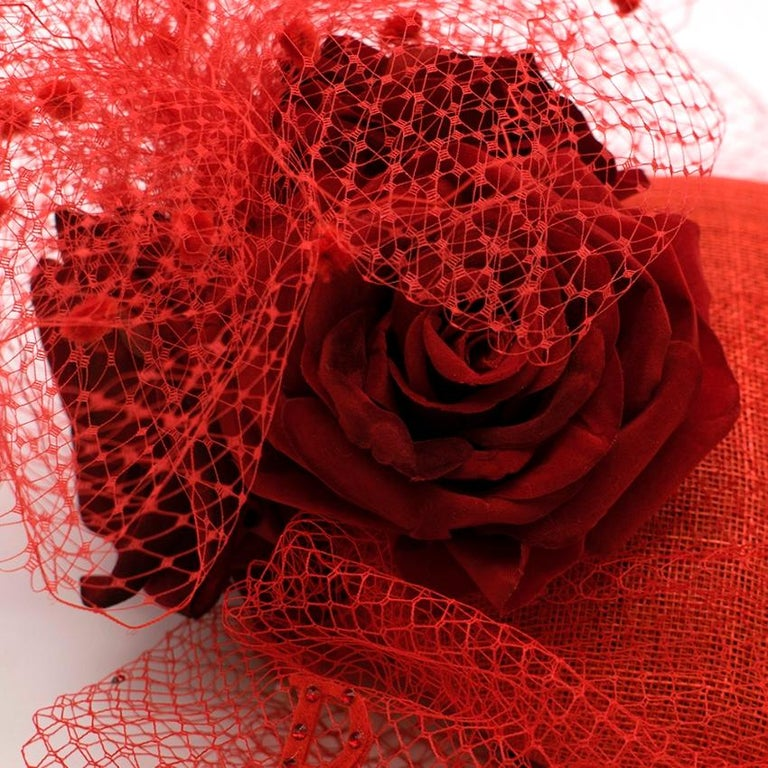 Women's Victoria Grant Bespoke Red Rose Tulle Embellished Head Piece  For Sale