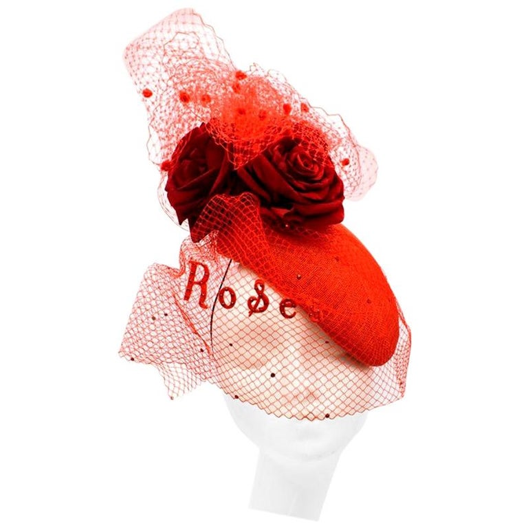Victoria Grant Bespoke Red Rose Tulle Embellished Head Piece  For Sale