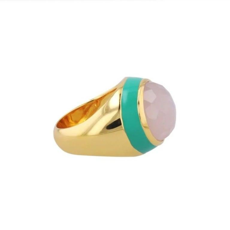 For Sale: undefined Victoria Green Enamel Ring with Peach Moonstone in 18k Gold 3