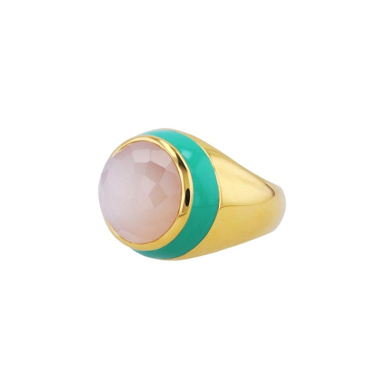 For Sale: undefined Victoria Green Enamel Ring with Peach Moonstone in 18k Gold 4