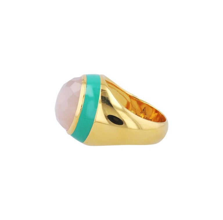 For Sale: undefined Victoria Green Enamel Ring with Peach Moonstone in 18k Gold 5