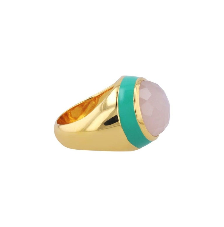 For Sale: undefined Victoria Green Enamel Ring with Peach Moonstone in 18k Gold 6