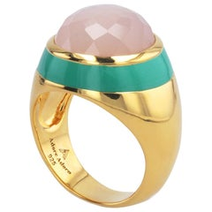 Victoria Green Enamel Ring with Peach Moonstone in 18K Gold