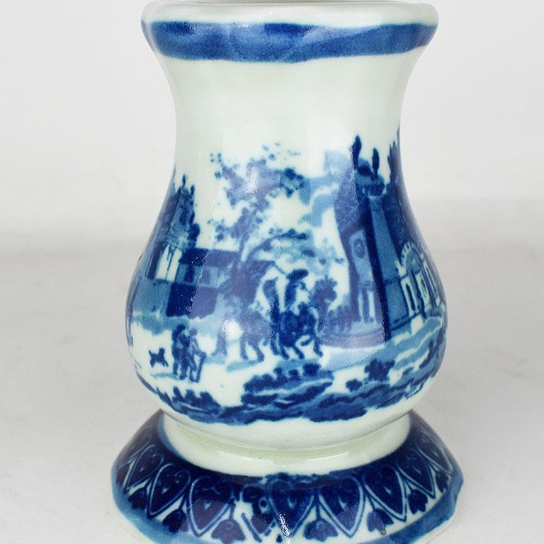 Victoria Ironstone Staffordshire Transfer ware Hatpin Holder in Flow Blue In Good Condition For Sale In Oklahoma City, OK