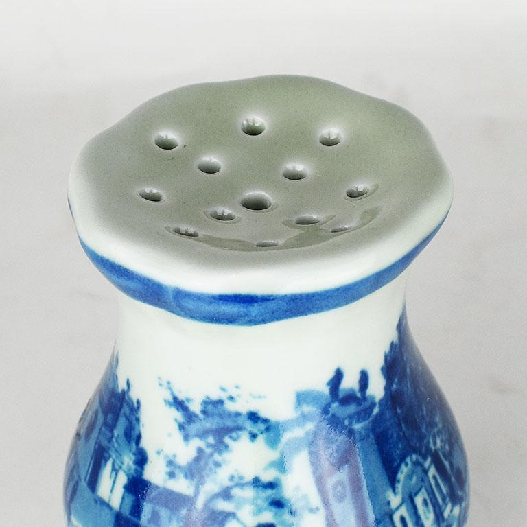 20th Century Victoria Ironstone Staffordshire Transfer ware Hatpin Holder in Flow Blue For Sale