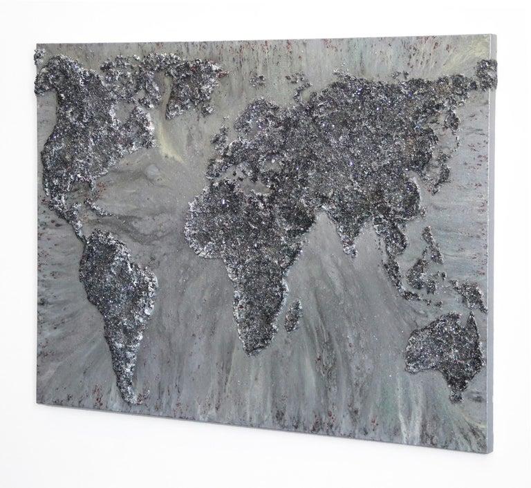The World IX - Gray Abstract Painting by Victoria Kovalenchikova