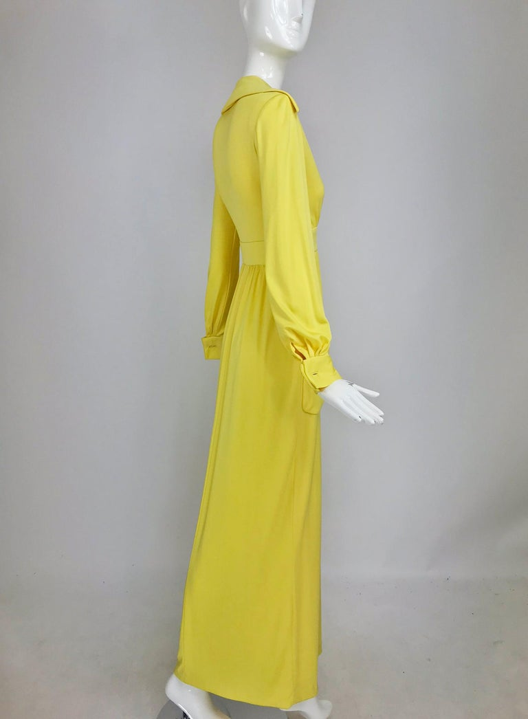 Victoria Royal Lillie Rubin Yellow Jersey Plunge Wrap Maxi Dress 1970s For Sale 6