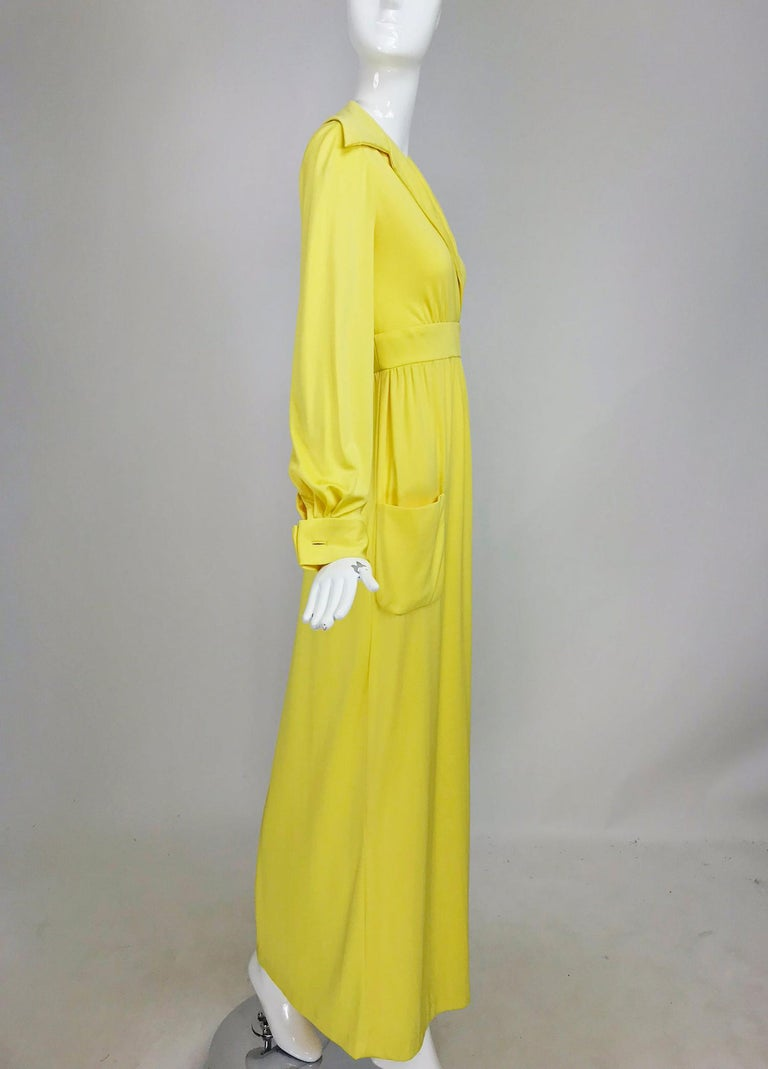 Victoria Royal Lillie Rubin Yellow Jersey Plunge Wrap Maxi Dress 1970s For Sale 7