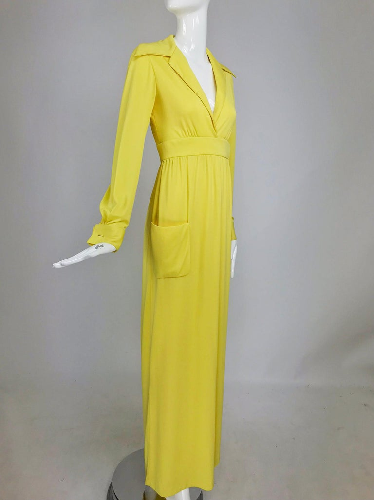 Victoria Royal Lillie Rubin Yellow Jersey Plunge Wrap Maxi Dress 1970s For Sale 8