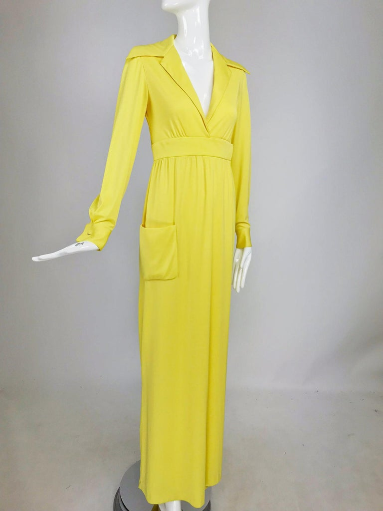 Victoria Royal Lillie Rubin Yellow Jersey Plunge Wrap Maxi Dress 1970s For Sale 9