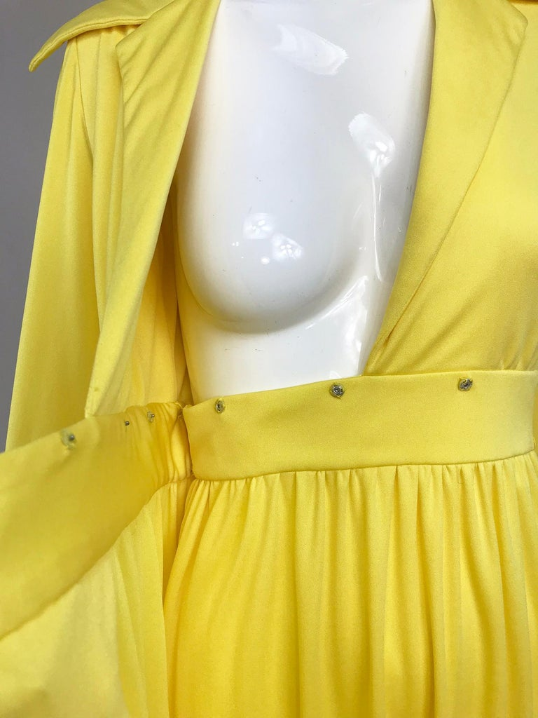 Victoria Royal Lillie Rubin Yellow Jersey Plunge Wrap Maxi Dress 1970s For Sale 10