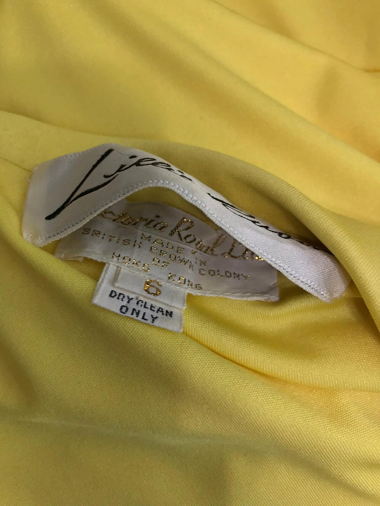 Victoria Royal Lillie Rubin Yellow Jersey Plunge Wrap Maxi Dress 1970s For Sale 11