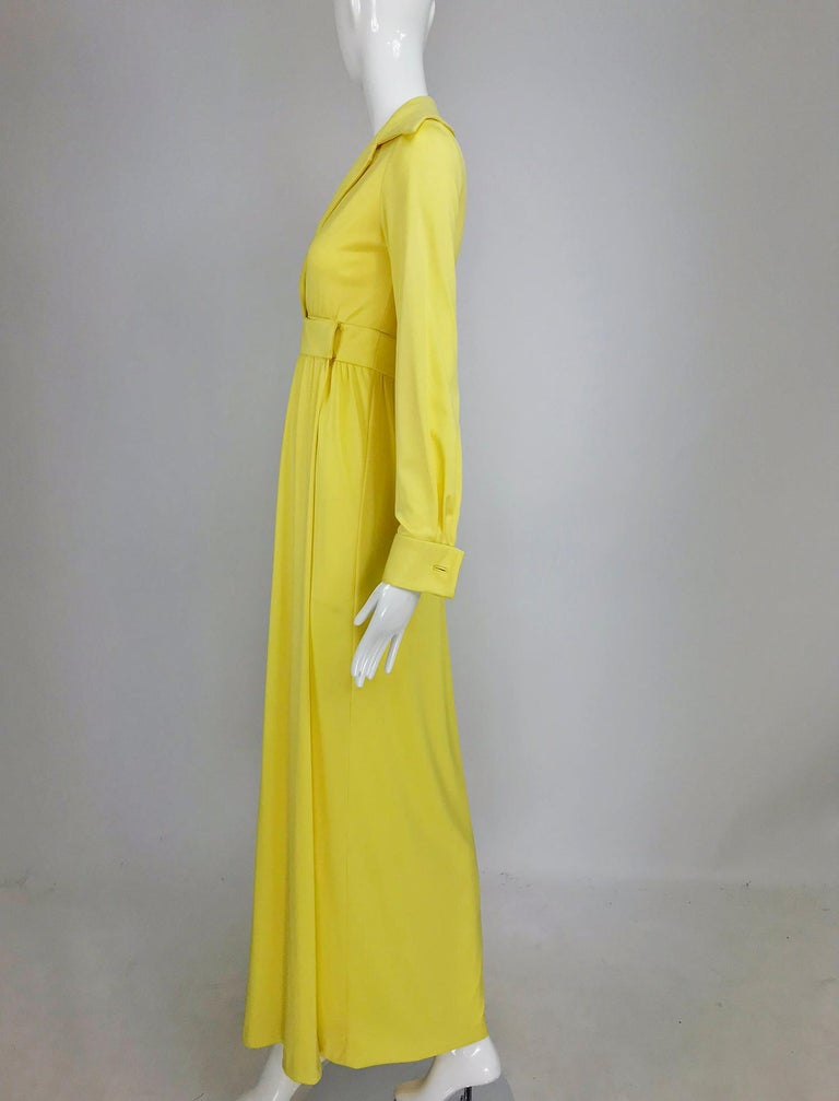 Victoria Royal Lillie Rubin Yellow Jersey Plunge Wrap Maxi Dress 1970s In Good Condition For Sale In West Palm Beach, FL