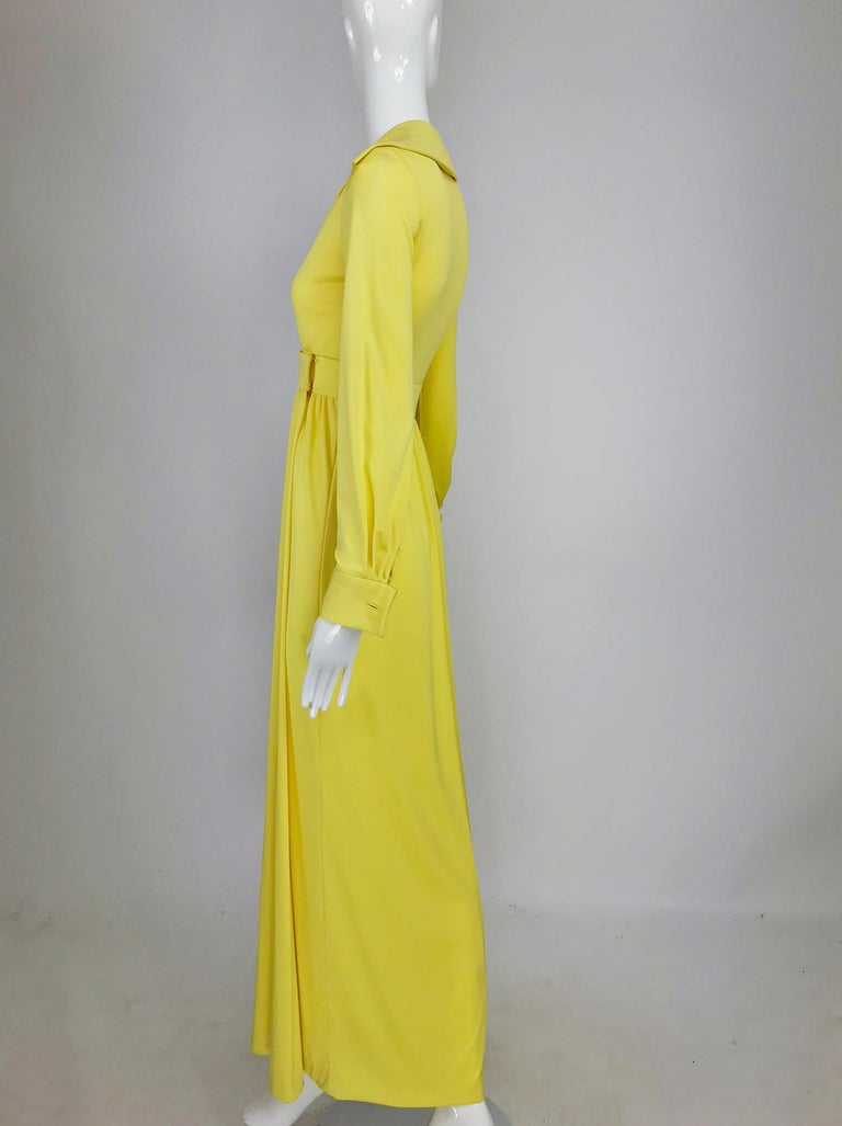 Women's Victoria Royal Lillie Rubin Yellow Jersey Plunge Wrap Maxi Dress 1970s For Sale