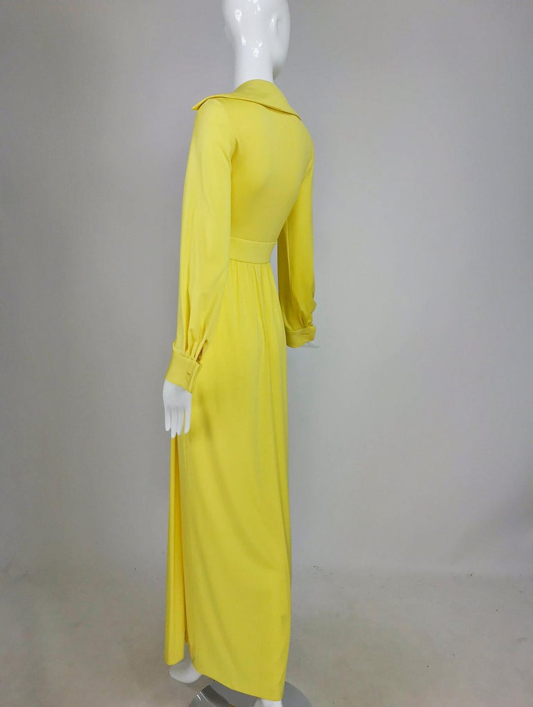 Victoria Royal Lillie Rubin Yellow Jersey Plunge Wrap Maxi Dress 1970s For Sale 1