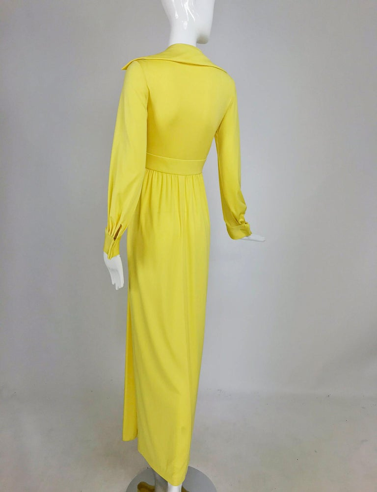Victoria Royal Lillie Rubin Yellow Jersey Plunge Wrap Maxi Dress 1970s For Sale 2