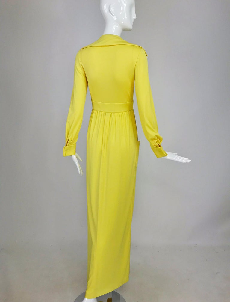 Victoria Royal Lillie Rubin Yellow Jersey Plunge Wrap Maxi Dress 1970s For Sale 3