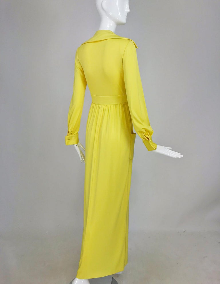 Victoria Royal Lillie Rubin Yellow Jersey Plunge Wrap Maxi Dress 1970s For Sale 4