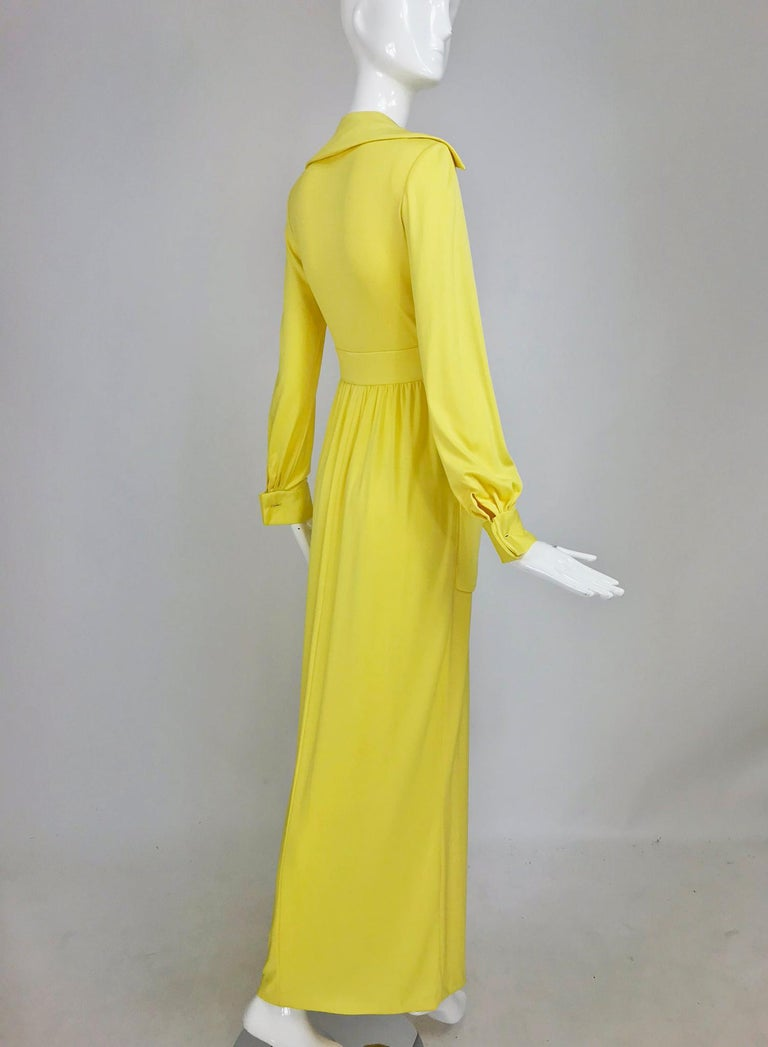 Victoria Royal Lillie Rubin Yellow Jersey Plunge Wrap Maxi Dress 1970s For Sale 5