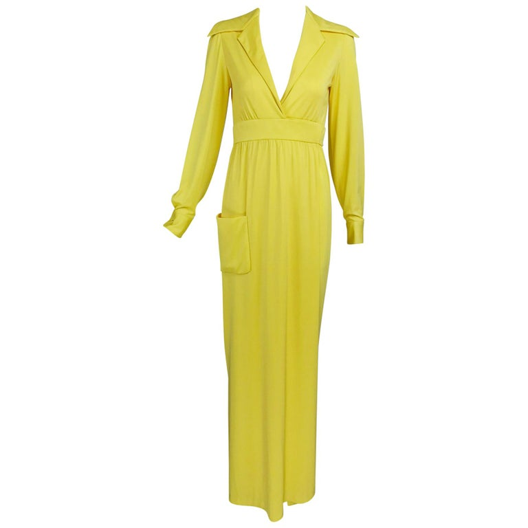 Victoria Royal Lillie Rubin Yellow Jersey Plunge Wrap Maxi Dress 1970s For Sale