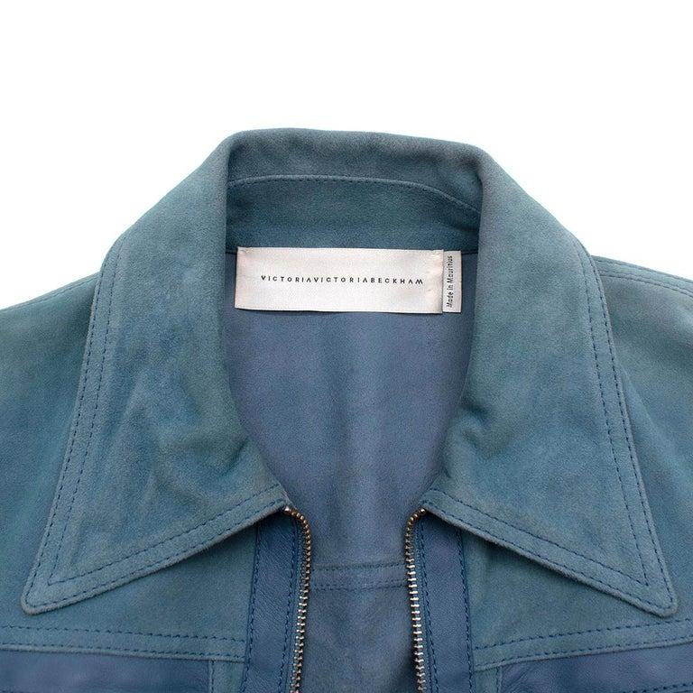 Women's Victoria Victoria Beckham Blue Suede Leather Shirt - Us size 4 For Sale