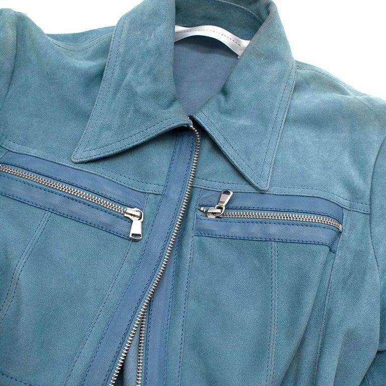 Victoria Victoria Beckham Blue Suede Leather Shirt - Us size 4 For Sale 1
