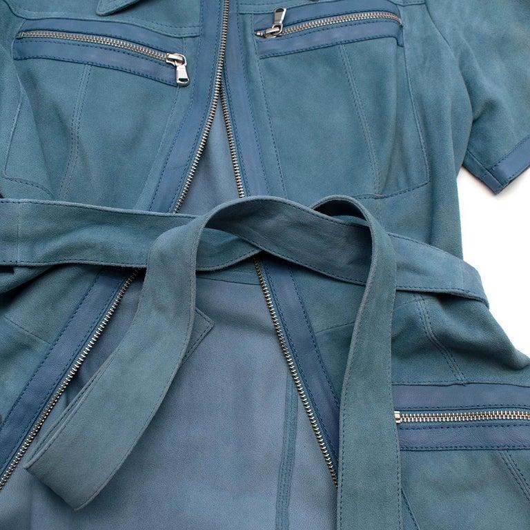 Victoria Victoria Beckham Blue Suede Leather Shirt - Us size 4 For Sale 2