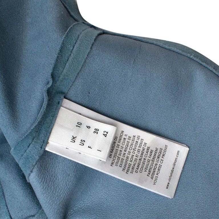 Victoria Victoria Beckham Blue Suede Leather Shirt - Us size 4 For Sale 3