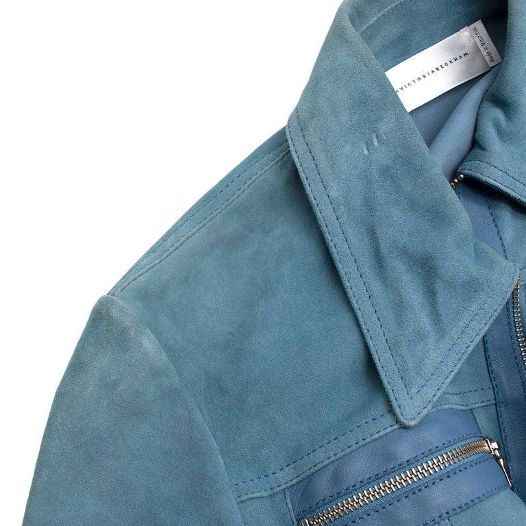 Victoria Victoria Beckham Blue Suede Leather Shirt - Us size 4 For Sale 4