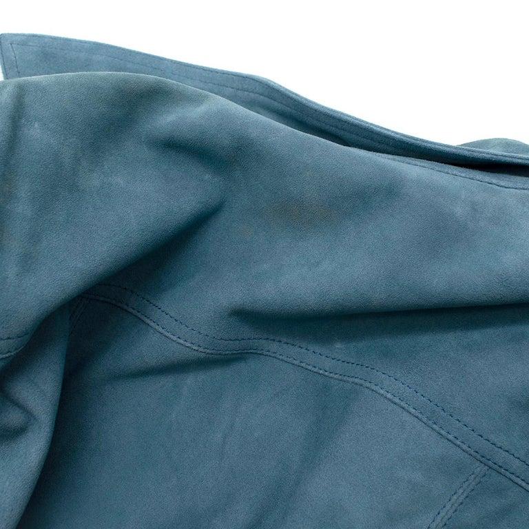 Victoria Victoria Beckham Blue Suede Leather Shirt - Us size 4 For Sale 5